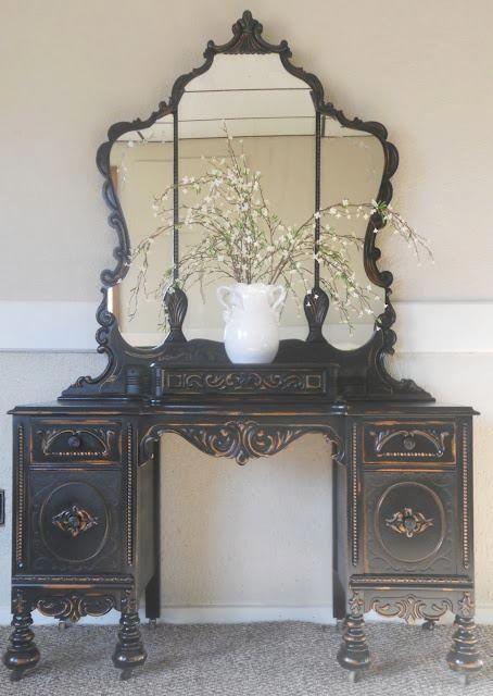 black vanity | Painted Vanity - Black / Gold | Furniture