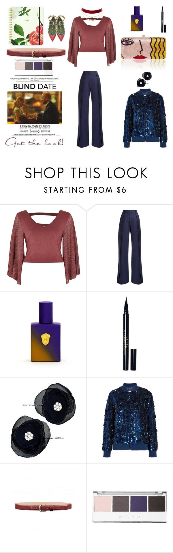 """""""Movie Date"""" by peeweevaaz ❤ liked on Polyvore featuring River Island, palmer//harding, Thayer, Stila, Accessorize, Ashish, Witchery, Charlotte Russe, outfit and polyvoreeditorial"""