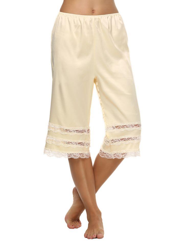 Avidlove Капри для женщин повседневные длинные скольжения лайнера штаны эластичный пояс кружева атласной отделкой pettipants одноцветное свободные штаны брюки S XXL купить на AliExpress