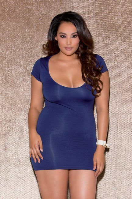 Plus Size Cap Sleeve Shredded Back Mini Dress Lingerie | Fashion ...