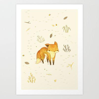 Lonely Winter Fox Art Print by Teagan White - $17.00