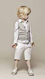 Tenue cérémonie : chemise, gilet et bermuda blanc garçon