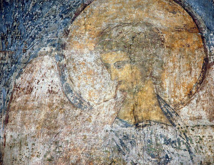 """Андрей Рублёв. """"Архангел Гавриил"""". Фрагмент. Успенский собор, Владимир. 1408."""