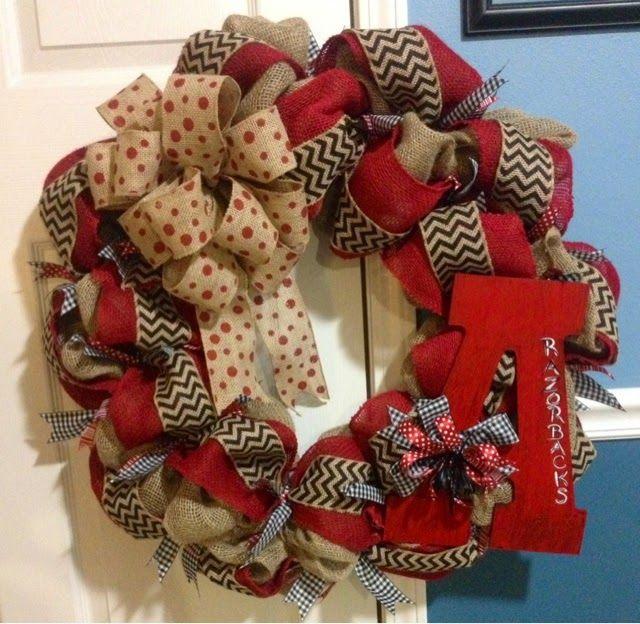 From the Heart: Burlap Arkansas Razorback Wreath