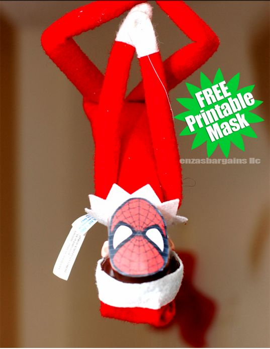 Spider-man's mask. | 18 Printables To Seriously Up Your Elf On The Shelf Game