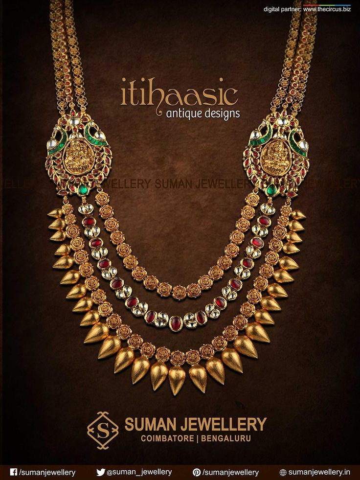 Showcasing a fine elegance and sheen, reflects an amalgamation of Indian cultures, traditions and customs at Suman jewellery. #temple #lakshmi #necklace #gold #jewellery #tradition