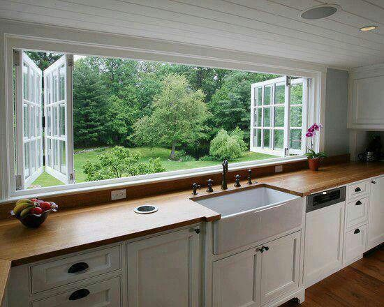 Country Kitchen. White Kitchen. Kitchen. Windows. Big White Glass Windows. Kitchen  View. Kitchen. Modern Country Kitchen. | Kitchen For Me?