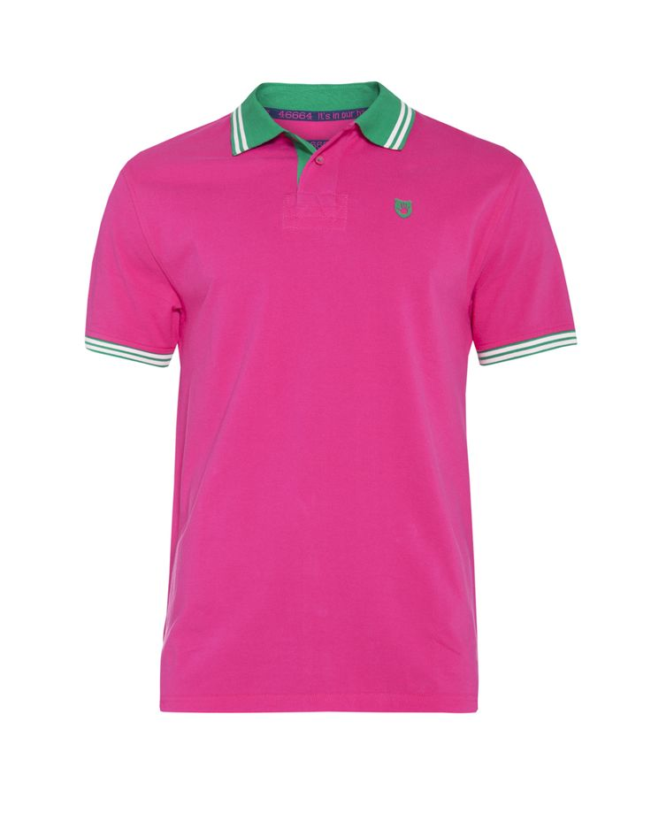 Men's rugby golfer with contrast under collar & cuff detail. Available in raspberry, white, orange, cerise, purple and teal. Available at www.46664fashion.com