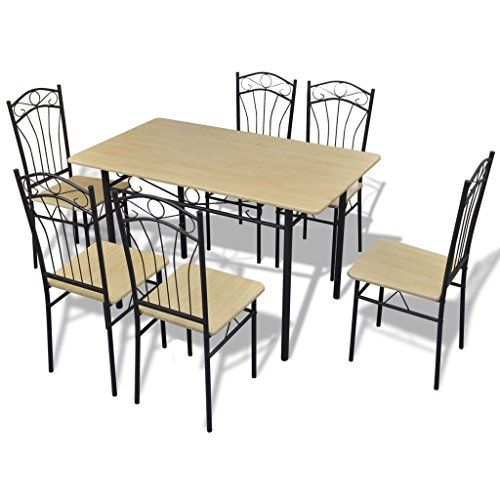 VidaXL Set Da Pranzo 1 Tavolo E 6 Sedie Marrone Chiaro  http://www.mobilionline.info/shop/sala-da-pranzo/mobile-completo-da-sala-da-pranzo/vidaxl-set-da-pranzo-1-tavolo-e-6-sedie-marrone-chiaro/ #sedie #setdapranzo #pranzo #saladapranzo #mobili