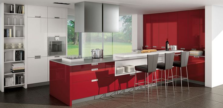 It seems Red is becoming trendy in kitchen design, This is from Pronorm Kitchens