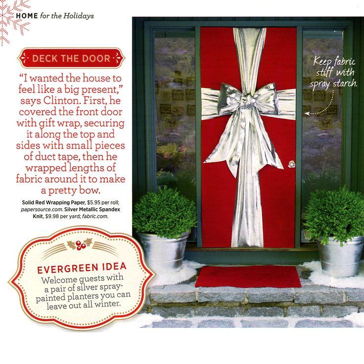 Christmas gift wrap door