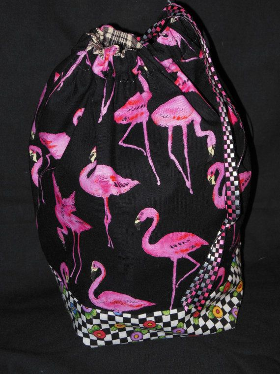 Project Bag  Flamingo drawstring project bag by 123carorose, $20.00, etsy