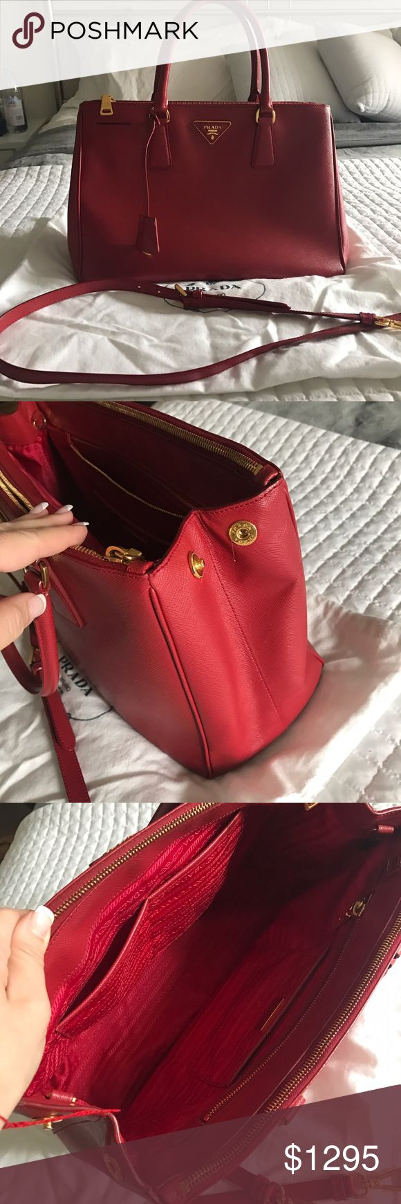 Authentic Prada Saffiano Double Zip Handbag Red Authentic. Self bought.  Comes with strap and dust bag.  Very good condition.  Used rarely and owned since 2013. Classic style. Still in store for $2700 Prada Bags Totes