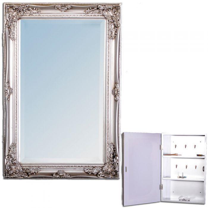 Spiegelschrank Beatrice Badezimmer Schrank Barock Silber Badschrank