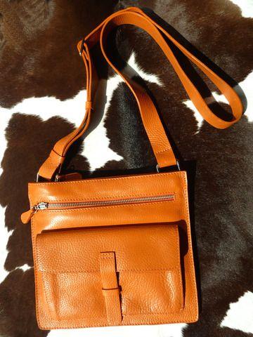 Hippie Crossbody Travel Bag Orange Pebble Grain Leather by IMPERIO jp