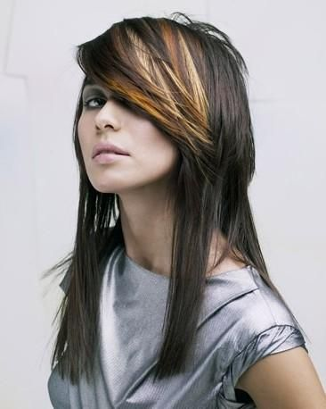 love Brunette hair with 2 tone highlights in bangs