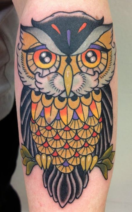 Truly Awesome Color Owl Tattoo