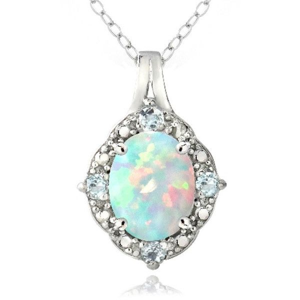 Glitzy Rocks Sterling Silver Diamond Accent Created  Opal and  Topaz... ($29) ❤ liked on Polyvore featuring jewelry, necklaces, blue jewelry, blue topaz jewelry, blue opal necklace, polish jewelry and opal jewelry