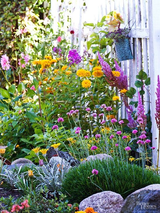If you live in a hot, dry climate, choose perennials that thrive in those conditions. Here, Heliopsis and coreopsis have roots in the American prairie, so you know these flowering beauties will keep on blooming even though temperatures and rainfall fluctuate. There's no need to coddle either one./