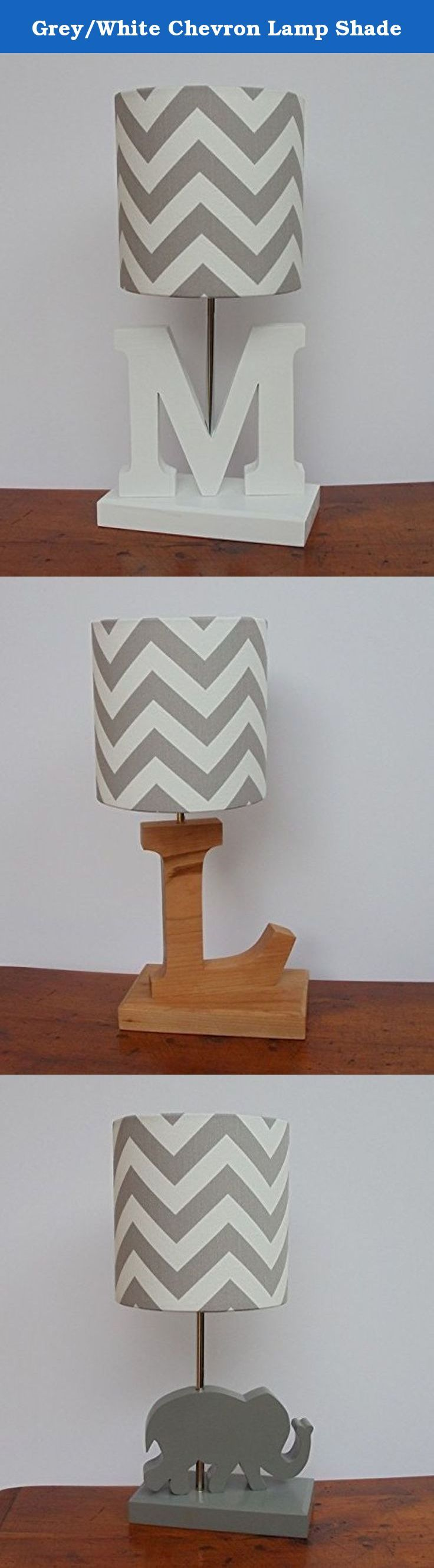 Grey/White Chevron Lamp Shade. This listing is for a small handmade grey/white chevron drum lamp shade. Made from high quality Premier Prints cotton fabric. Great for nursery or child's bedroom. **THIS LISTING IS FOR THE LAMP SHADE ONLY.** However, we also sell the lamp bases pictured above, separately. Please visit our Amazon store to view our lamp base listings. Lamp Shade clips onto any standard incandescent light bulb.