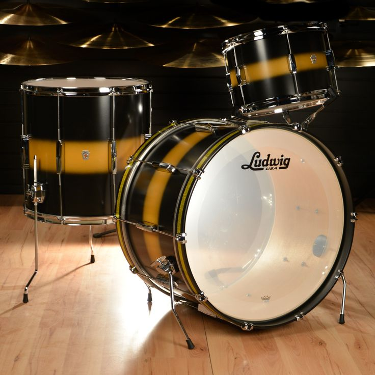 Ludwig Club Date Vintage 13/16/22 3pc Drum Kit Black/Gold Duco Old School mentality meets modern sensibility, The new Ludwig Club Date combines the best of Ludwig's past with modern drum building tech