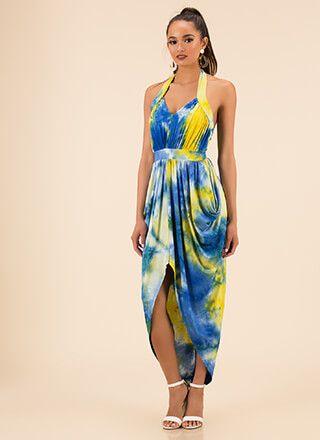 0a3d28dde9cf Dreamy Draped Tie-Dye Halter Dress