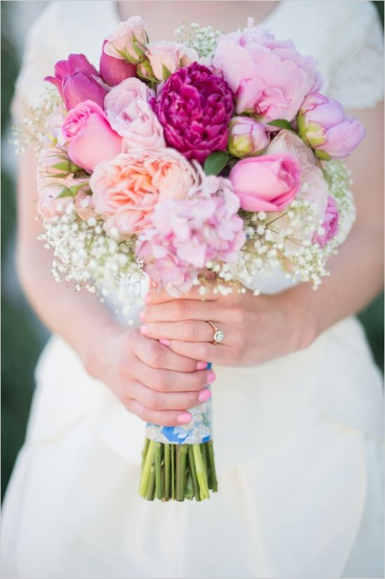 pink bridal bouquet by amy gallup #rainbowwedding #pinkflowers #weddingchicks http://www.weddingchicks.com/2013/12/19/festive-floral-wedding/