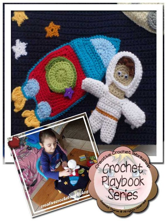 My Interactive Out In Space Playbook Crochet Quiet Book - PDF Instant Digital Download Crochet Pattern