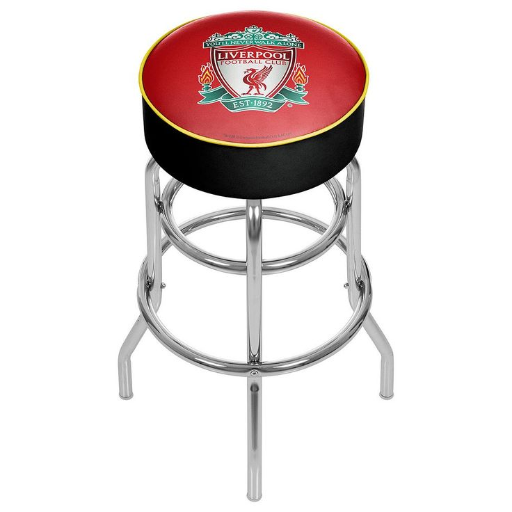 Liverpool FC Swiveling Chrome Bar Stool, Red