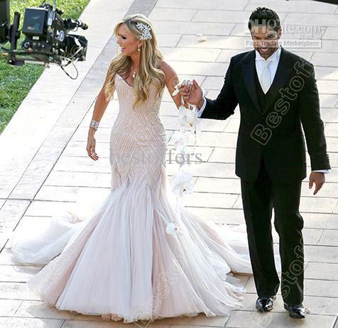 Wholesale Mermaid Wedding Dresses - Buy Light Pink Sweetheart Bling Bling Tamra Barney Mermaid Wedding Gown Beads Sequins Sheath Wedding Dre...