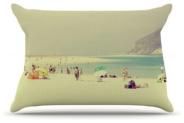 """Ingrid Beddoes """"Lazy Days"""" Summer Beach Pillow Case, King (36"""" x 20"""") contemporary-bed-pillows"""