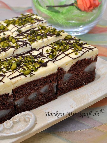 Birnen-Kuchen mit Puddingcreme