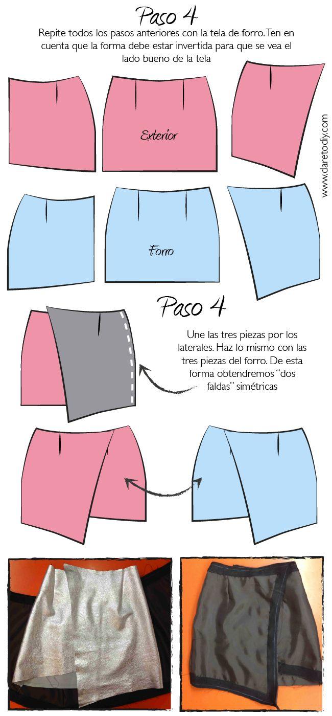 Cómo hacer una falda cruzada (wrap skirt) Patrones descargables gratuitos - tallas de la XS a la L