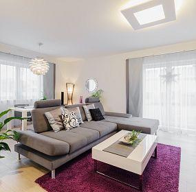 Pohled na sedací zónu obývacího pokoje