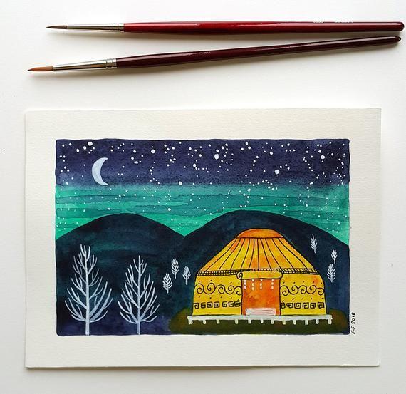 Original Watercolor Painting Camping Glamping Yurt Tent Camp