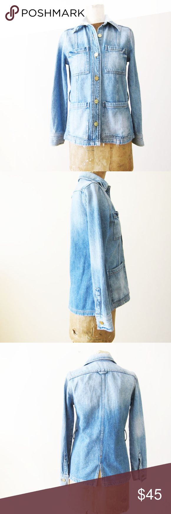 """FRAME Denim Le Patch Pocket Rangley Denim Shirt XS -MISSING BELT- SOLD AS IS.  For Sale: FRAME Denim Rangley Le Patch pocket denim jacket. New without tags however, belt is missing. Sold as is.  From the website: FRAME denim jacket. Spread collar; button front. Long sleeves; single-button cuffs. Four front patch pockets. Slim silhouette. Self-tie belt cinches the natural waist. Straight hem. Yoked back. Back center vent. Cotton. made in USA of imported material.  Length: 23"""" Chest: 34""""…"""