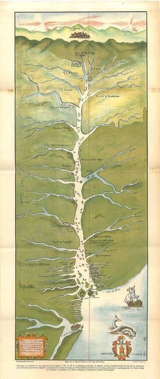 """1923 reproduction of a map of the Amazon river originally sent in 1639 to the president of the Consejo de Indias (Council of the Indias, the most important administrative organ of the Spanish Empire). It was part of a report """"Discovery of the river of the Amazons"""", what we now call the Amazon river."""
