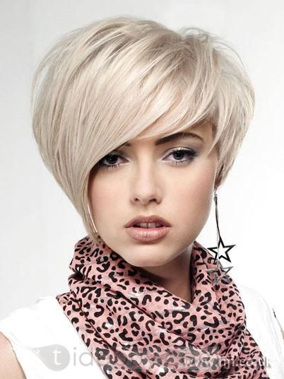 New Lovely Short Hairstyle Trend Short Straight about 8Inch Silver Cheap Wig