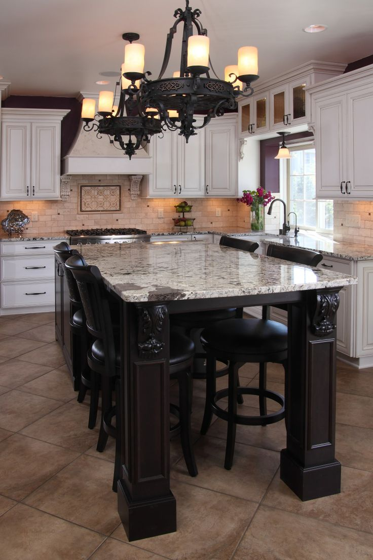 Custom Design Kitchen Islands White Painted & Glazed Perimeter Cabinets, Cherry Island