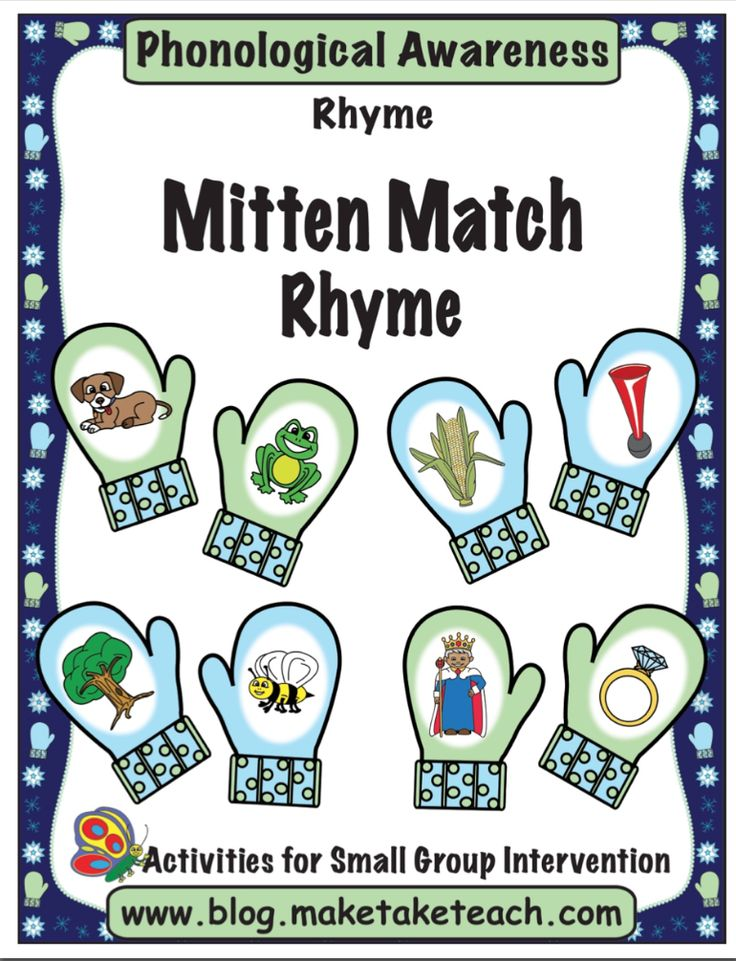 30 colorful rhyming mitten pairs. Students use a clothespin to clip the matches. Fun for centers!