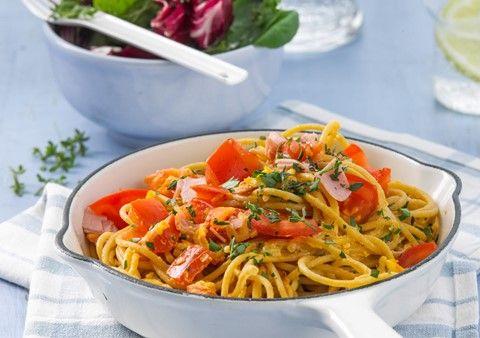 Pasta med skinka och tomat