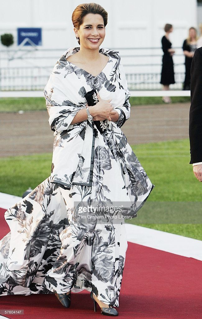 Princess Haya of Jordan the wife of Sheikh Mohammed bin Rashid al Maktoum of Dubai arrives for a party/dinner at the Royal Windsor Horse Show on May 12, 2006 in Windsor, England.
