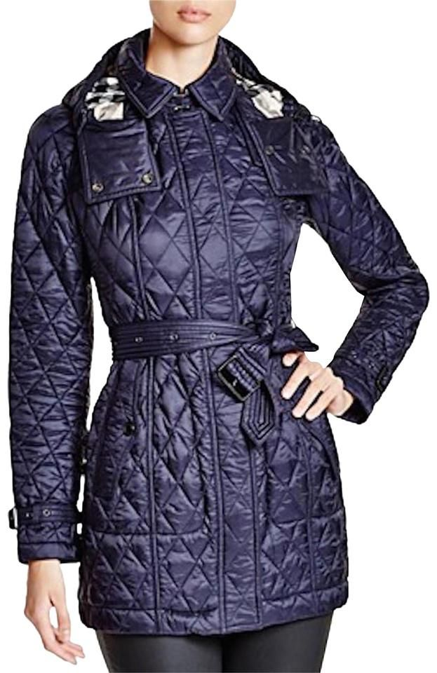 Burberry Navy Finsbridge Belted Quilted Check Jacket Xsmall Coat Size Checked Jacket Coat Quilted Coat Women