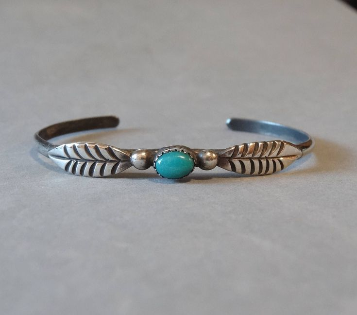Vintage Sterling Silver Turquoise Cuff Bracelet Native American Navajo Indian Southwest Carved Leaf