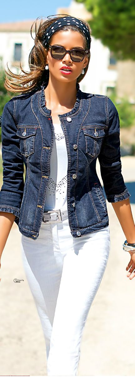 Great looking lightweight collarless jacket for warmer weather. Love the navy dot headscarf-- not an obvious color match color, yet tops off this denim blue and white ensemble nicely.