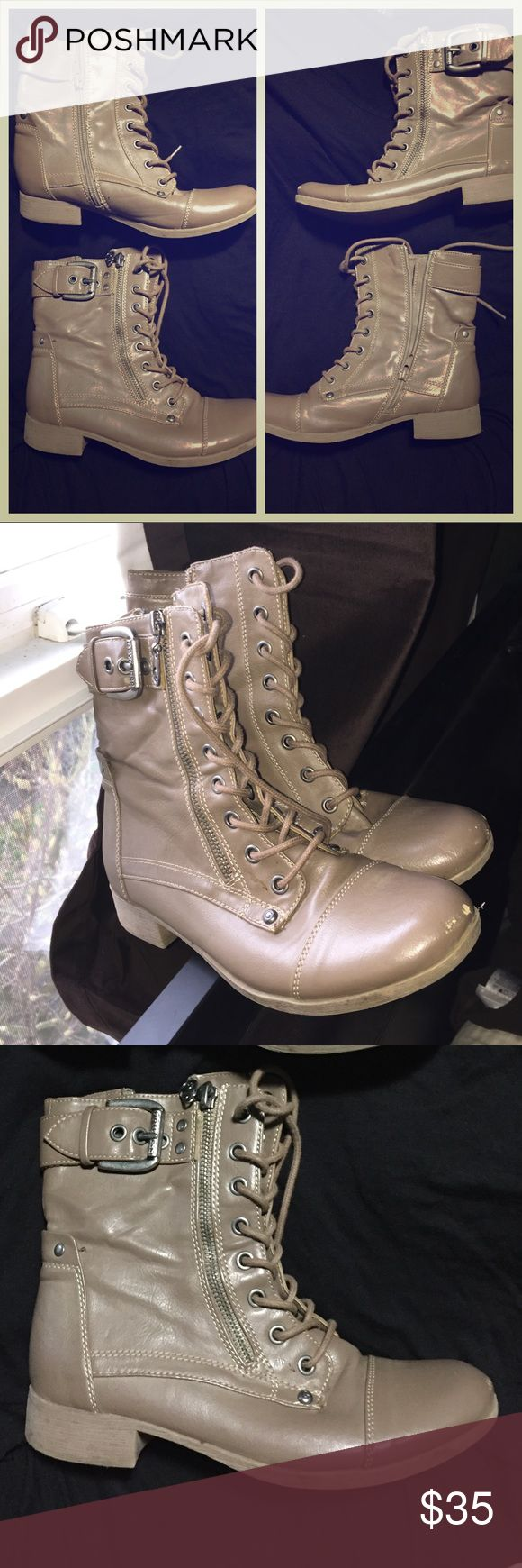 G by Guess shoes size 6 tan Adorable shoes! Scuffs on the toes :) G by Guess Shoes Lace Up Boots