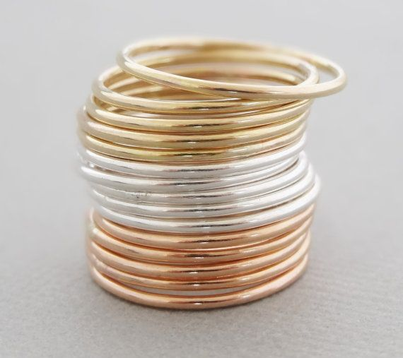 Super Thin Rings stacking rings choose rose gold by bluebirdss