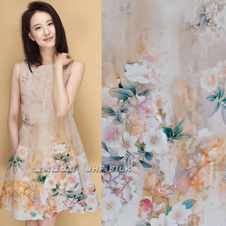 Cheongsam цельный платье шелковой ткани цифровой двойной эластичный сатин груша порошок