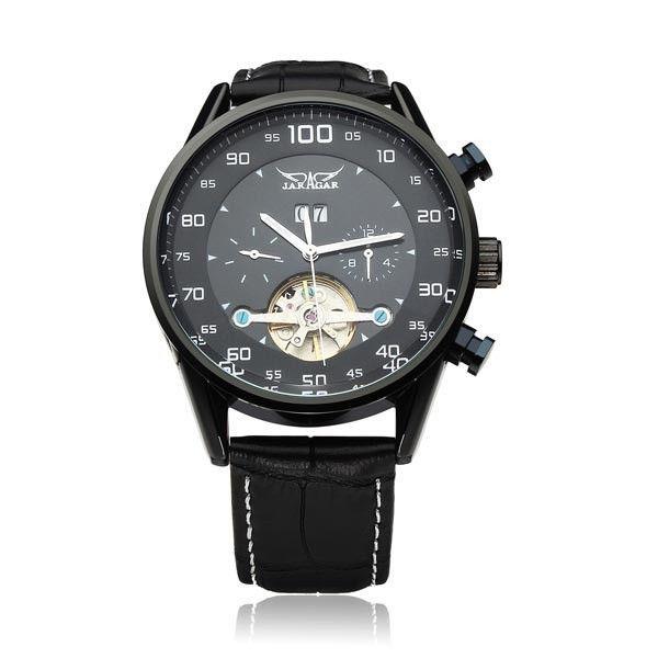 JARAGAR Automatic Mechanical Black Dial Flywheel Men Wrist Watch #jaragar #Fashion