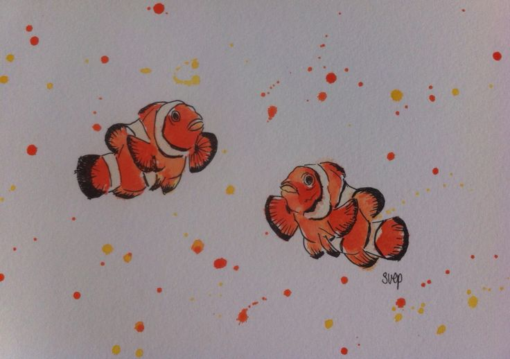 """Hello Nemo!"" - original pen and watercolour painting, unframed 21cm x 15cm. Donated to Camp Quality. Follow more of my creative marine art-science journey as Dr Suzie Starfish on Facebook."
